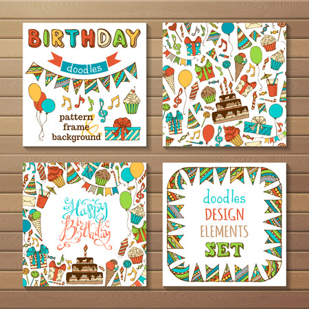 Happy Birthday Set. Set of seamless pattern, garland frame, square background, hand-drawn lettering and various design elements on wood background.