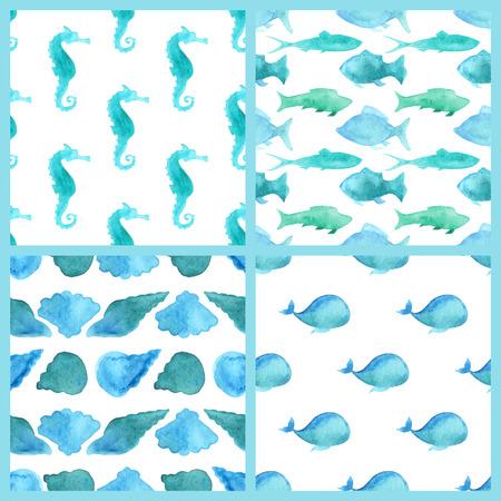 gastropod: Set of watercolor marine boundless patterns Illustration