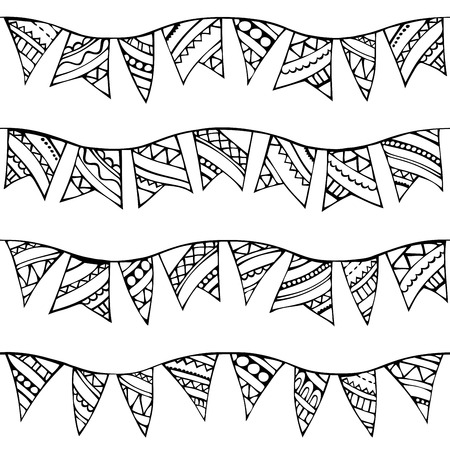 boundless: Vector seamless doodles garlands pattern. Black and white boundless texture can be used for web page backgrounds, wallpapers, wrapping papers, invitation, congratulations and festive designs.
