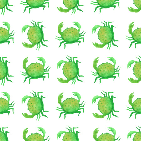 green crab: Seamless watercolour crab pattern. Green watercolour crabs on white background. Boundless pattern can be used for web page backgrounds, wallpapers, wrapping papers, invitation and summer designs. Illustration