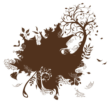 elm: Autumn illustration. Autumn duotone background with place for your text.