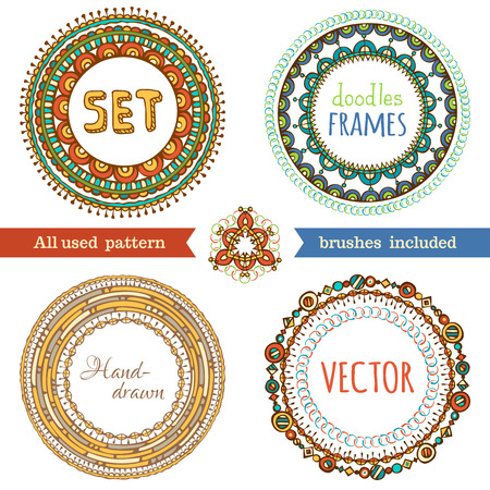 circle frames set of doodles ethnic frames hand drawn various circle frames isolated