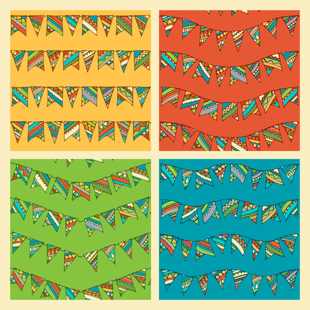 coloured background: Set of bright seamless bunting patterns. Various hand-drawn garlands on coloured background