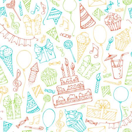 Helle nahtlose Geburtstag Muster. Bunte kritzelt Geschenk-Boxen, Girlanden und Luftballons, Musiknoten, Party Reifenplatzer, Kuchen und Süßigkeiten, Geburtstagskuchen, Partyhüte auf weißem Hintergrund Standard-Bild - 44256979