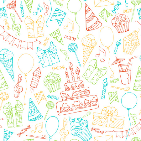Bright seamless birthday pattern. Colourful doodles gift boxes, garlands and balloons, music notes, party blowouts, cakes and candies, birthday pie, party hats on white background