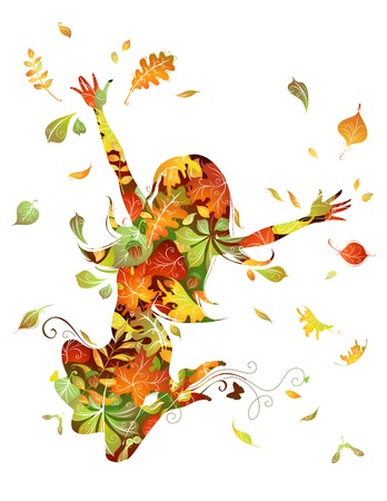 autumn woman: Autumn woman. Silhouette of young jumping woman on white background.