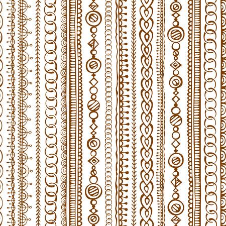 ビンテージ: シームレスな落書き民族パターン。無限のテクスチャを手描き