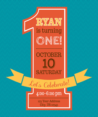 One year Birthday invitation. Flat vector template. Vector illustration. Vectores