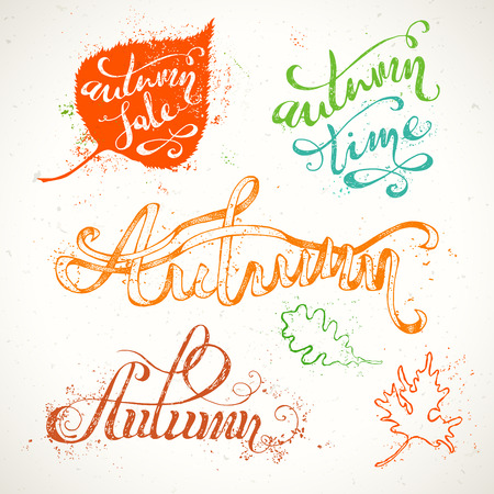 autumn: Hand-written Autumn Lettering. Grunge colourful words and leaves isolated on white background. Paint stains. Autumn. Autumn Sale. Autumn Time.
