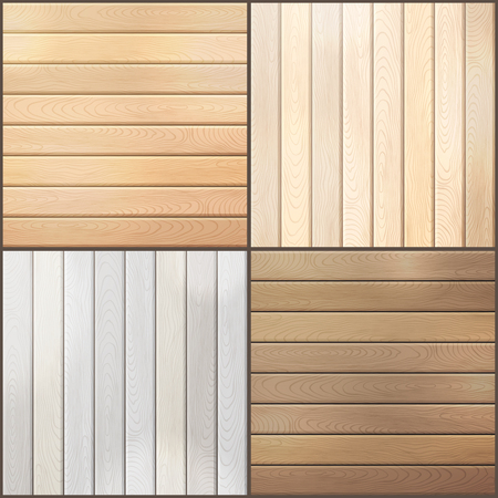 Set of wood plank backgrounds. Various square backgrounds with horizontal and vertical planks. Vectores