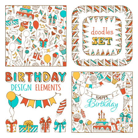 Doodles Happy Birthday Set. Seamless pattern, garland frames, square background and various design elements on white background.