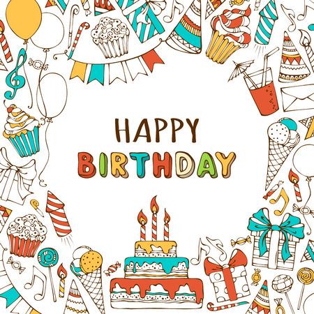 Vector gelukkige verjaardag achtergrond. Handgetekende verjaardag snoep, partij klapband, feestmutsen, cadeau-dozen en bogen, slingers en ballonnen, muziek notities en vuurwerk, kaarsen op verjaardagstaart.