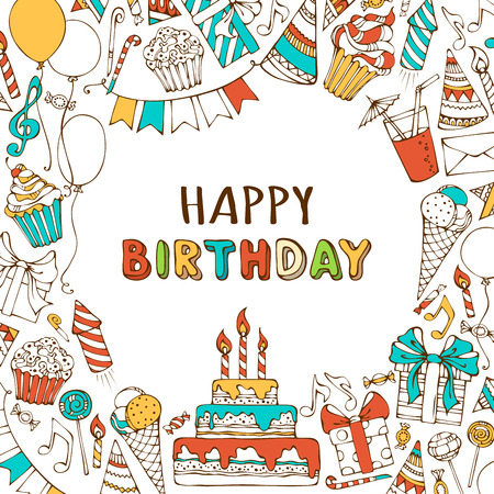 party food: Vector Happy Birthday background. Hand-drawn Birthday sweets, party blowouts, party hats, gift boxes and bows, garlands and balloons, music notes and firework, candles on birthday pie.