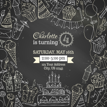 holiday music: Chalk Birthday invitation blackboard template. Hand-drawn party blowouts and hats, cakes and candies, garlands and balloons, sweets, gift boxes and bows, music notes and firework, candles on birthday pie.