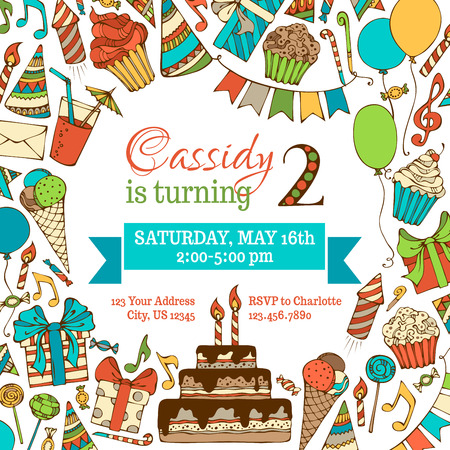 Bright Birthday invitation card. Hand-drawn square illustration. Doodles party blowouts, cakes and candies, birthday pie, party hats, gift boxes, garlands and balloons, music notes and others. Illustration