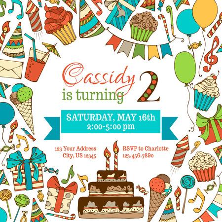 gorros de fiesta: Tarjeta de invitaci�n de cumplea�os brillante. Dibujado a mano a la plaza ilustraci�n. Reventones Doodles partido, tortas y dulces, pastel de cumplea�os, fiesta de sombreros, cajas de regalo, guirnaldas y globos, notas de la m�sica y otros.
