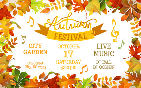autumn garden: Autumn Festival template. Bright colourful autumn leaves on horizontal white background. You can place your text in the center. Illustration