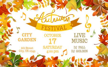 otoñales: Plantilla Festival de Otoño. Hojas de colores de otoño brillantes en el fondo blanco horizontal. Usted puede colocar el texto en el centro.