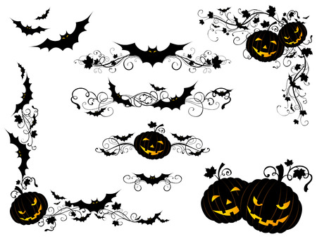 Halloween vintage page decorations and dividers. Ornate design elements with bats and jack-o-lanterns isolated on white background.