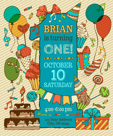 birthday balloon: First Birthday Card Invitation. Hand-drawn party blowouts and hats, cakes and candies, garlands and balloons, sweets, gift boxes and bows, music notes and firework, candle on bithday pie.