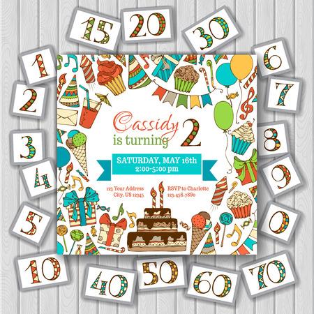 marco cumpleaños: Feliz invitación de la tarjeta de cumpleaños en el fondo de madera. Números de cumpleaños y el texto son editable. Ilustración del vector.