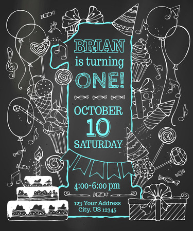 hand with card: Chalk first Birthday invitation on blackboard. Hand-drawn chalk party blowouts and hats, sweets, garlands and balloons, gift boxes and bows, music notes and firework, birthday pie on blackboard background.
