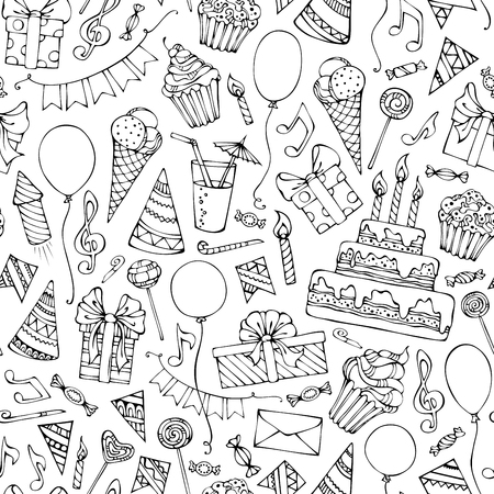 Hand-drawn seamless birthday pattern. Doodles birthday objects on white background. Boundless texture can be used for web page backgrounds, wallpapers, wrapping papers or birthday invitations.