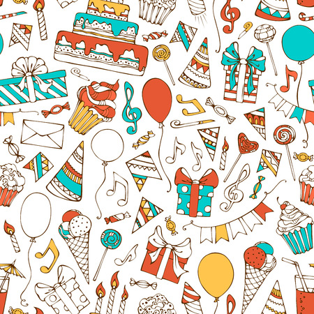 Seamless birthday pattern. Hand-drawn gift boxes, garlands and balloons, music notes, party blowouts, cakes and candies, birthday pie, party hats on white background.