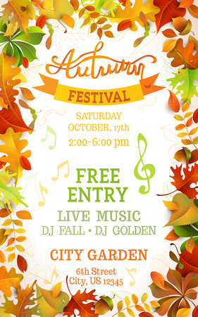 festival: Fall Festival template. Bright colourful autumn leaves on vertical white background. You can place your text in the center. Illustration