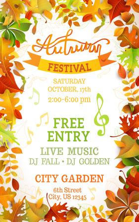 Autumn: Otoño plantilla Festival. Hojas de colores de otoño brillantes en el fondo blanco vertical. Usted puede colocar el texto en el centro.