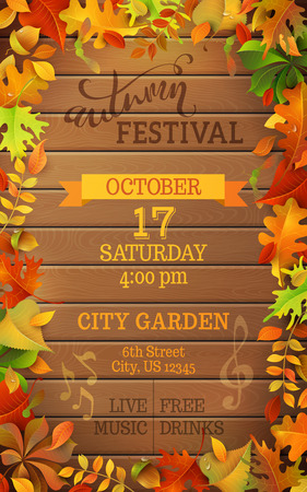 Autumn Festival template. Bright colourful autumn leaves on vertical wood background. You can place your text in the center.