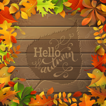 Hello Autumn! Bright colourful autumn leaves on wood background. Hand-written text in the center. Ilustração