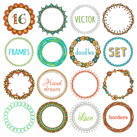 frame vector: Vector set of 16 hand-drawn ethnic frames. Doodles circle geometric frames isolated on white background. There is place for text in the center of frame.