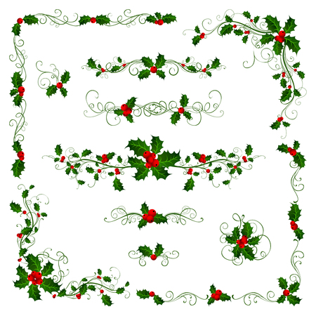 Christmas page dividers and decorations. Ornate elements with holly berries isolated on white background.
