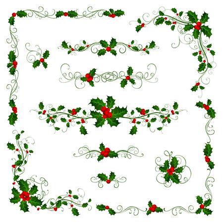 Kerst pagina verdelers en decoraties. Sierlijke elementen met hulst bessen geïsoleerd op een witte achtergrond. Stockfoto - 45155867