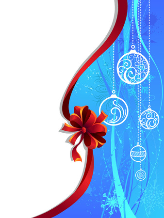 christmas blue: Blue Christmas wallpaper with red ribbon. Vintage background with snowflakes and Christmas decorations. There is copy space for your text on white area.