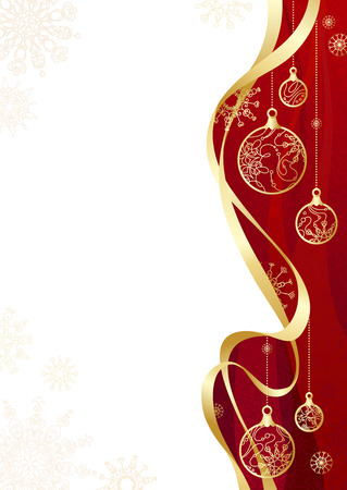 ribbon red: Christmas background with gold ribbon. Red background with gold Christmas decorations and snowflakes. There is  copy space for your text on white area.