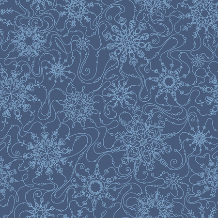 Seamless pattern with snowflakes. Blue pattern with ornate snowflakes for your design. Illustration
