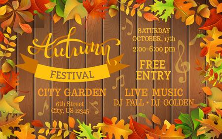 caes: Otoño plantilla Festival. Deja colorido brillante del otoño en el fondo de madera horizontal. Usted puede colocar el texto en el centro.