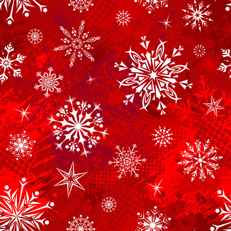 christmas eve: Red seamless Christmas pattern. Bright boundless white and red background. Illustration