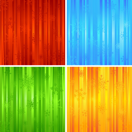green backgrounds: Four Christmas striped backgrounds. Red, blue, green and yellow abstract patterns with snowflakes.