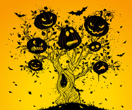 halloween tree: Halloween tree. Grunge Halloween tree with Jack-O-Lanterns and bats on its branches. Illustration