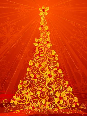 red christmas background: Gold Christmas tree. Red Christmas background with ornate Christmas tree of holly berries.
