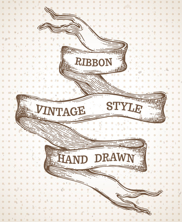 band: Vintage hand-drawn ribbon banner. Vector sepia sketch illustration. There is copy space for your text.