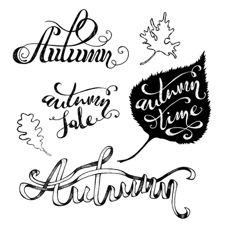 ribbon tape: Vector Grunge Autumn Lettering. Hand-written words and leaves isolated on white background. Autumn. Autumn Sale. Autumn Time.