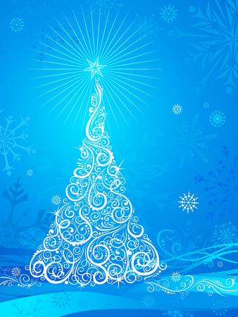 bright christmas tree: Bright background with Christmas tree and snowflakes. There is place for text. Illustration