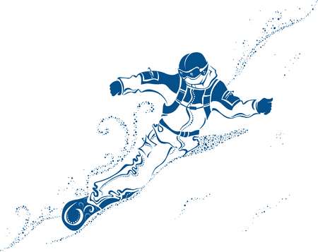 Snowboard Extreme. Vector abstract illustration of a snowboarder on the mountainside.