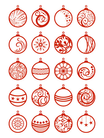 Set of Christmas balls. Various Christmas decorations isolated on white background for your Christmas design.