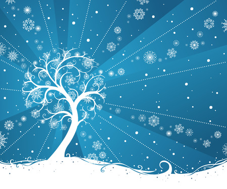 winter tree: Winter tree. Snow tree on blue winter background. There is place for your text. Illustration