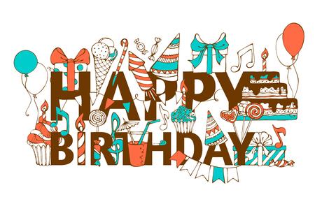"""Handgetekende verjaardag kaart. Doodles geschenkdozen, slingers en ballonnen, muziek nota's, partij klapband, cakes en snoepjes, verjaardag taart, partij hoeden op felicitatie """"Happy Birthday""""."""